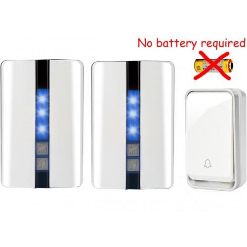 Κουδούνι πόρτας ασύρματο 150M λειτουργεί χωρίς μπαταρίες με ένα πομπό και δύο δέκτες K33WW 12