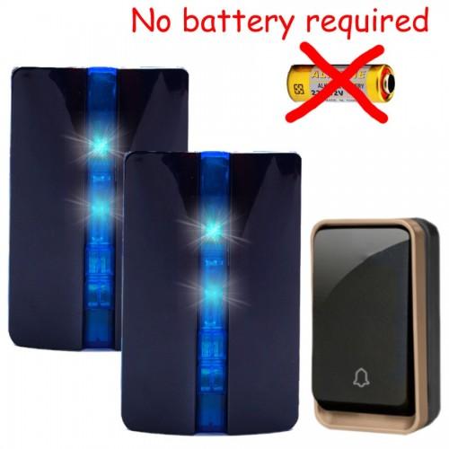Κουδούνι πόρτας ασύρματο 150M λειτουργεί χωρίς μπαταρίες με ένα πομπό και δύο δέκτες K33BB 12