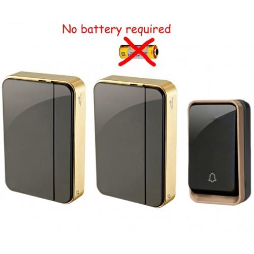 Κουδούνι πόρτας ασύρματο 150M λειτουργεί χωρίς μπαταρίες με ένα πομπό και δύο δέκτες k06BB 12
