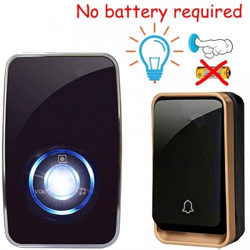 Κουδούνι ασύρματο πόρτας 150M χωρίς μπαταρίες με φωτισμό LED με ένα πομπό και ένα δέκτη - K09BB 11