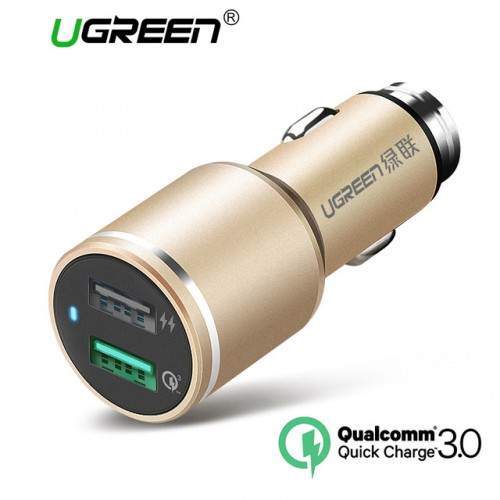 Ugreen 2.8A Car Phone Charger 2 Port 18W Fast Car Charge 3.0