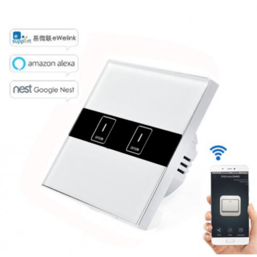 Διακόπτης τοίχου on off Touch με wifi με δύο μπουτόν για Android and IOS - 1429