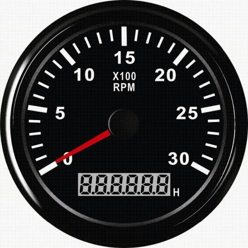 Αναλογικό στροφόμετρο με ωρόμετρο για πετρελαιομηχανές Diesel 12V / 24V 3000 RPM