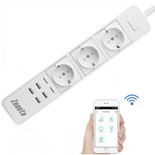 WiFi Smart Power Strip Socket με 3 πρίζες και 4 USB Port charge - 1771
