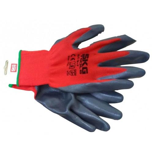 Γάντια νιτριλίου κόκκινο γκρι βαρέως τύπου 45gr No11