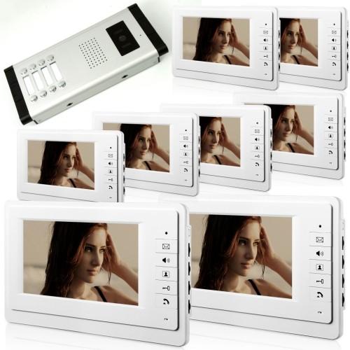θυροτηλεόραση έγχρωμη για πολυκατοικίες με 8 μπουτόν και 8 οθόνες 7 inch - V70F