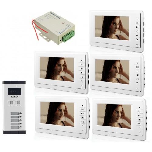 θυροτηλεόραση έγχρωμη για πολυκατοικίες με 5 μπουτόν και 5 οθόνες 7 inch - V70F