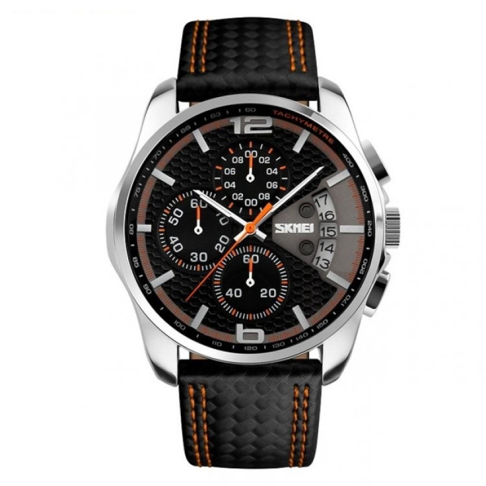 Ανδρικό ρολόι πολυλειτουργικό απο γνήσιο δέρμα - SKMEI 9106 e0f11413ab3