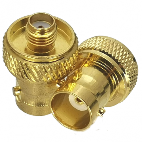 Golden BNC Female Jack to SMA Female RF Connector Adapter