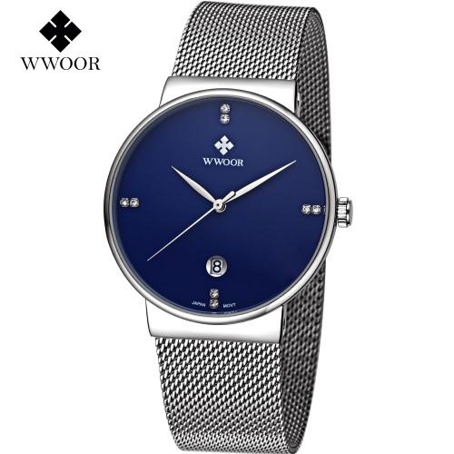Ανδρικό ρολόι χειρός Μπλε-Ασημί - WWOOR 8018