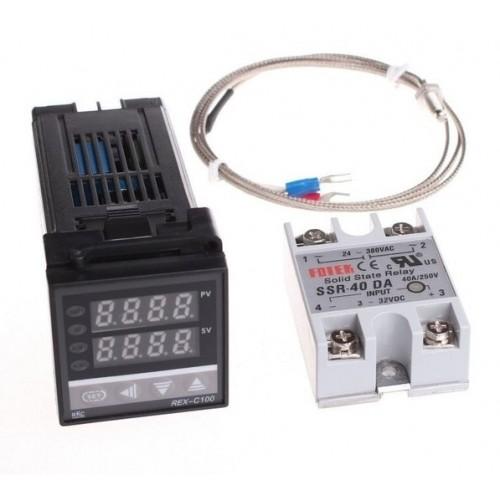 Ψηφιακός PID ελεγκτής θερμοκρασίας με θερμοστάτη REX-C100 + Max.40A SSR Relay + K θερμοστοιχείο ακίδα - C100S