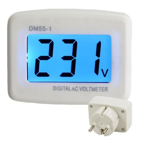 Ψηφιακό βολτόμετρο σούκο φις 80-300V AC - DM55-1